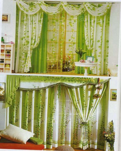 浅绿色窗帘欧式