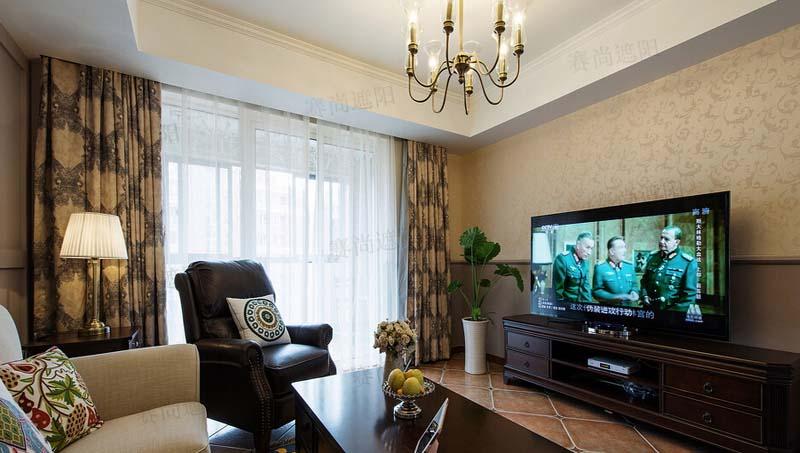 美式客厅窗帘效果图高清图片