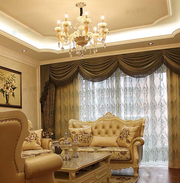 欧式装修风格客厅电动窗帘