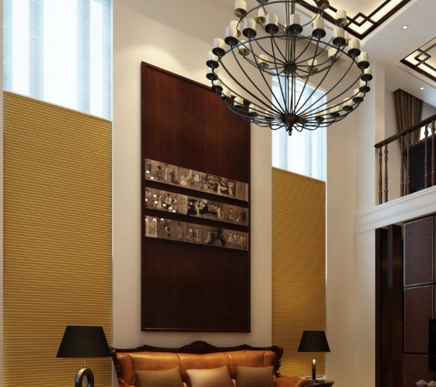 别墅隔音窗帘电动蜂巢帘的效果图实景图